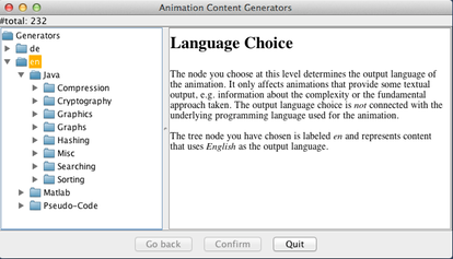 Next, choose an output language, typically en for English or de for German
